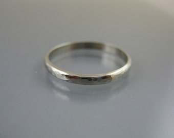 14k white gold wedding band, hammered band, wedding ring, commitment ring, recycled gold, eco-friendly jewelry,  white gold