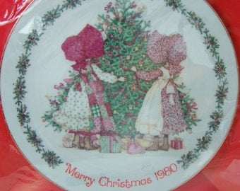 Holly Hobbie Collector Plate, American Greetings, 1980 Christmas Decorative Plate Vintage 80's, Cottage Style Home Decor, Holiday Housewares