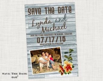 Vintage Beach Save the Date Postcard - Photo - Beach Tropical Destination Wedding