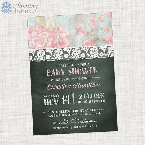 shabby chic baby shower invitation girl baby shower printable