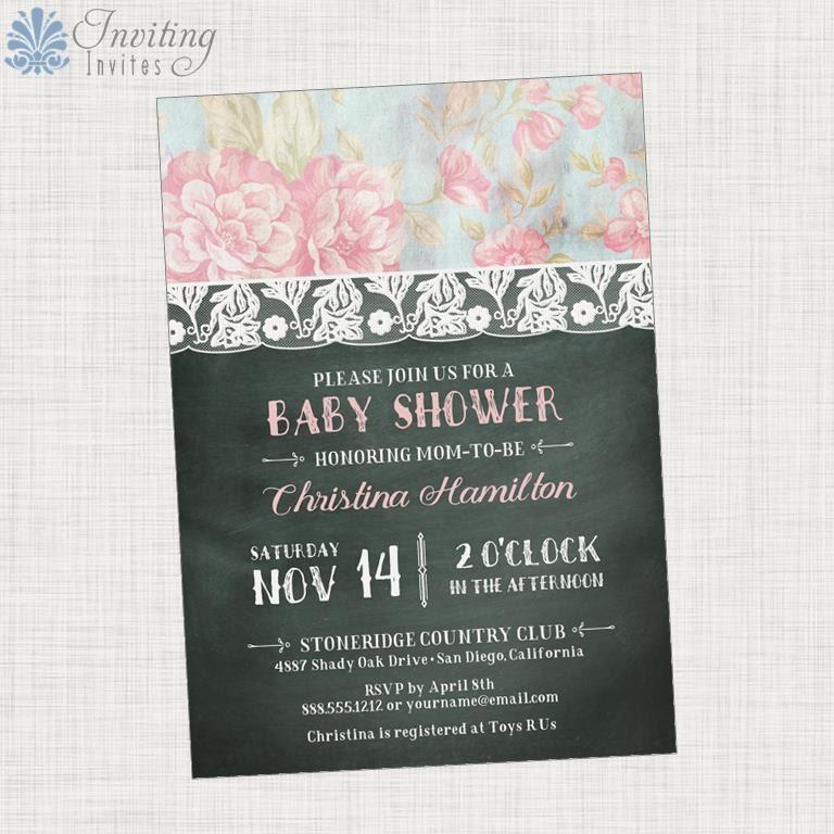 shabby chic baby shower invitation girl baby shower