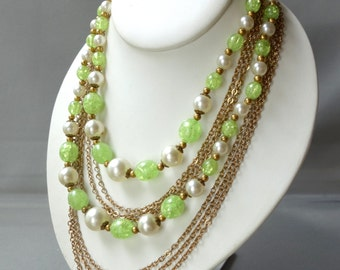 Vintage gold chain link and green, white faux pearl beaded necklace, multi strand
