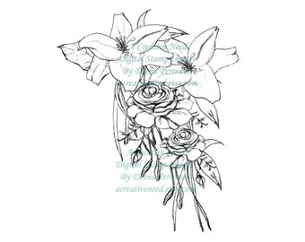 Instant DOWNLOAD. Digital Stamp Image LILIES and ROSES. Wedding or Anniversary Image.