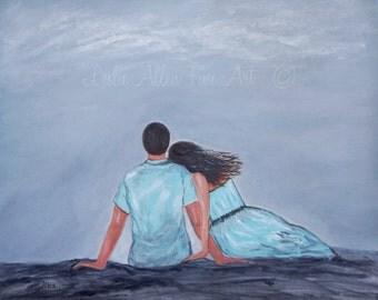 "Couple Painting Couple Art  Cuddling Couple Wall Art Couple Love Husband Wife Boyfriend Girlfriend ""The One I Love"" Leslie Allen Fine Art"