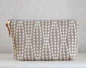 White Dot Strands Wide Padded Zipper Pouch Gadget Case Cosmetics Bag - READY TO SHIP