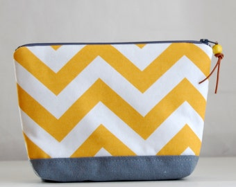 Yellow Chevron Large Padded Zipper Pouch Gadget Case Cosmetics Bag - READY TO SHIP