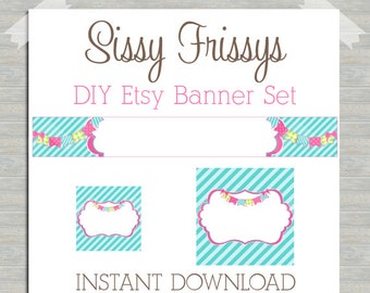 INSTANT DOWNLOAD Bunting Banner Striped Party Premade Etsy Banner Set - Etsy Shop Banner Set - Etsy Banner Set - 181524874 Blank DIY