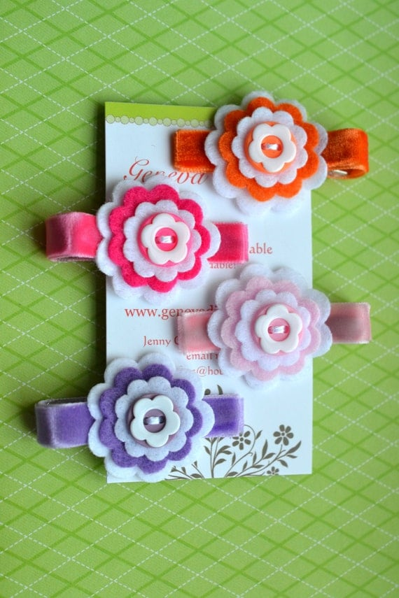 Set of 4...3-layer stacked felt flower hairclips by GenevaDiva