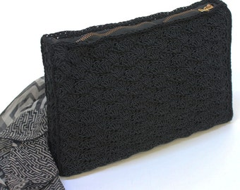 40's Black Corde Clutch / Zipper Bag / Woven Zip Clutch