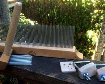 Extra fine 2-pitch wool comb and blending hackle set