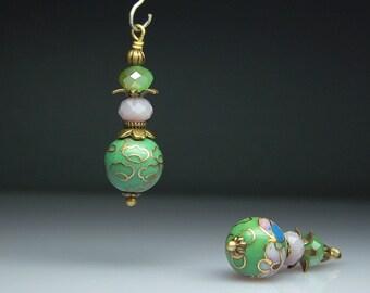 Vintage Style Bead Dangles Green Cloisonne Pair G0237