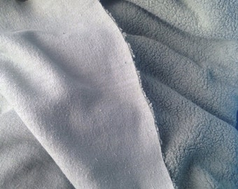 Organic muted musty green sherpa cotton knit fabric