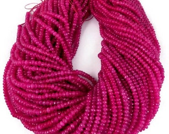 """Excellent Bright Pink Chalcedony Sparkly Micro Faceted Rondelle Bead spacers,size 4.4mm, 7"""" strand"""