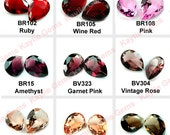 Glass Jewel 18x25mm Tear Drop Pointed Back Unfoiled  -Ruby, Siam, Pink, Garnet, Peach or Champagne - Pick Your Color