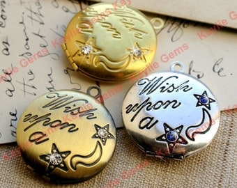 Wish Upon a Star Engraved Round Locket Pendant Charm Decorated with Rhinestones 25mm / 1 Inch - Antique Silver, Antique Brass, Raw - 1pc