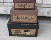 Primitive Saltbox and Willow Square Stack Boxes Set of 3 GCC04565