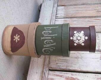 Primitive Santa Hat Christmas Holiday Stacking Boxes GCC04328