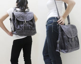 Back To School SALE - 20% OFF Pressie in Waxed Canvas Gray / Backpack / Satchel / Rucksack / Messenger / Tote / Women / For Her / Gift