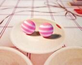 SALE - Cross My Heart Earrings - Neon Pink