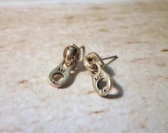 SALE - Mini Zipper Stud Earrings - Silver