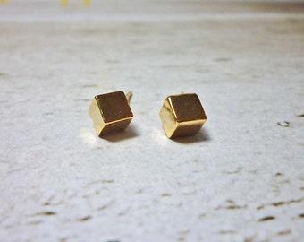 Gold Cube Stud Earrings, Dainty Earrings