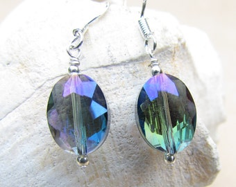 Multi Color Jewel Tone Crystal Earrings, Handcrafted by Harleypaws, SRAJD