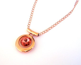 Rose Peach and Copper necklace, Swarovski copper pendant necklace