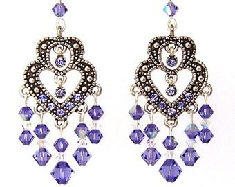 Purple heart earrings, Swarovski crystal tanzanite double heart earrings, purple crystal chandelier earrings, bridal earrings, tanzanite