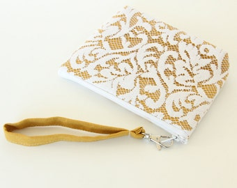 Angela Wristlet - Mustard Yellow and White Lace, Yellow Clutch, Lace Wedding Clutch, Bridesmaid Gift Idea, Fall Wedding, Purse with Strap