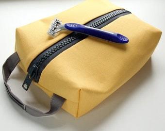 Mens Shaving Kit, Dopp Kit, Travel Kit, Vegan Shaving Kit, Canvas Travel Case, Yellow Shaving Bag, Cosmetic Bag, Groomsmen Gift