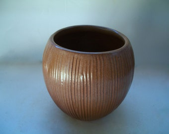 Vintage Frankoma Coconut Brown Bowl Vase 4 &1/4 Inches Tall  X 3.5 Inches Wide 1960s Marked t 7