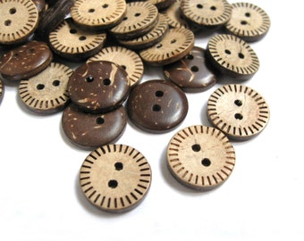 10 Brown Coconut Shell Buttons 15mm - Stitch  (BC609B)