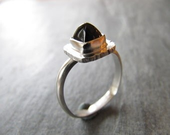 Unique Garnet Ring in Sterling Silver