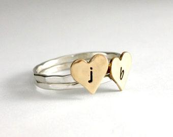 Stack Rings, Heart Initial Rings, Custom Initial Rings, Sweetheart Rings, Stack Rings, Sterling Silver And Brass