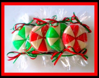 Peppermint Candy Soaps - Set of 2 - Stocking Stuffers - Christmas Soap for Kids