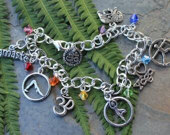 I love Yoga Bracelet- Chakra color Swarovski crystals- warrior, tree, downward dog yoga poses; namaste, om- rainbow- zen- free shipping USA