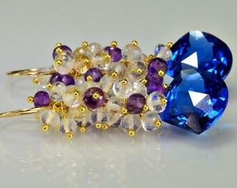 Multi Gemstone Cluster Earrings Quartz Amethyst Crystal Wire Wrapped Earrings