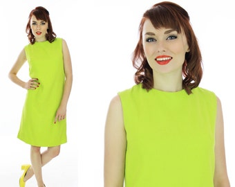 Mod Shift Dress Vintage Lime Green 1960s A-line Retro 60s Mad Men Medium M