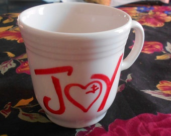 Vintage Syracuse China Red Heart Coffee Mug Cup JOY Red