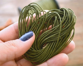 Dark Olive Green: Braided, Cotton Cord 1mm, 25ft (8.33 yards) / Moss thread / Perfect for Shamballa, DIY Supplies, Cotton Twine, Supplies
