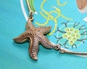 vintage 1960s 70s gold STARFISH mid century MODERNIST pendant wire collar necklace beach wedding prom party gift