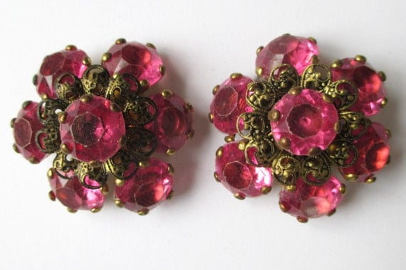 LARGE Vintage Pink RHINESTONE Buttons