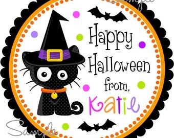 Printable Halloween Tags, Halloween Labels, Halloween Cat, DIY  Halloween Hang Tags