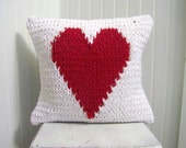 heart knit pillow/ valentine's day pillow / red heart pillow / v day / valentines day decoration / white and red / sweater pillow /