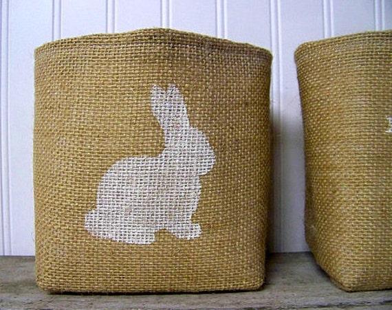 silhouette basket / burlap / bunny silhouette / white / natural / decoration / rabbit / burlap baskets / storage baskets / nurse