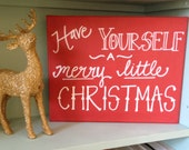 SALE-- Merry Little Christmas Canvas--Red, 8 x 10