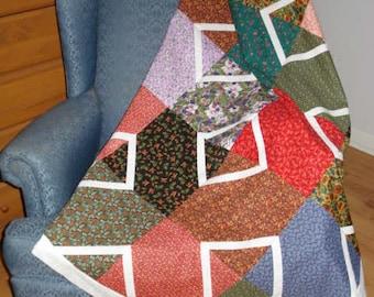 Flower Box  Quilt Top Lap unfinished patchwork flower fabrics