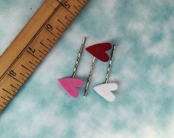 Flocked heart bobby pin