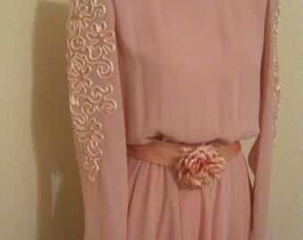 Vintage 70s Ursula of Switzerland soft pink party dress, size 8 pink swirling skirt dress, mother of bride or groom dress,  soutache dress