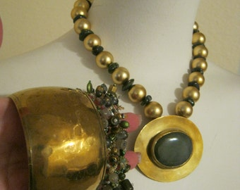Vintage brass tone bold pendant and 2 bracelets, green adventurine pendant necklace, boho brasstone statement necklace, brasstone bangle